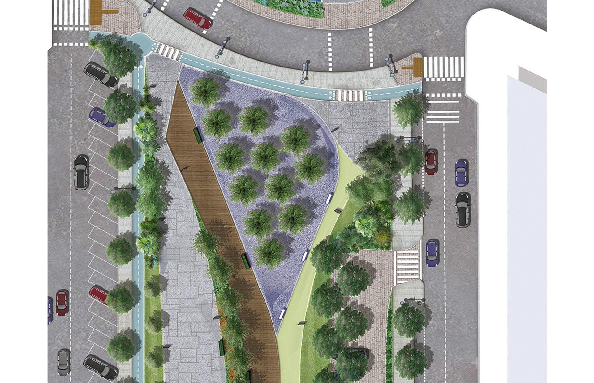 Detalle de propuesta de Jardín en Soterramiento San Pedro, Málaga