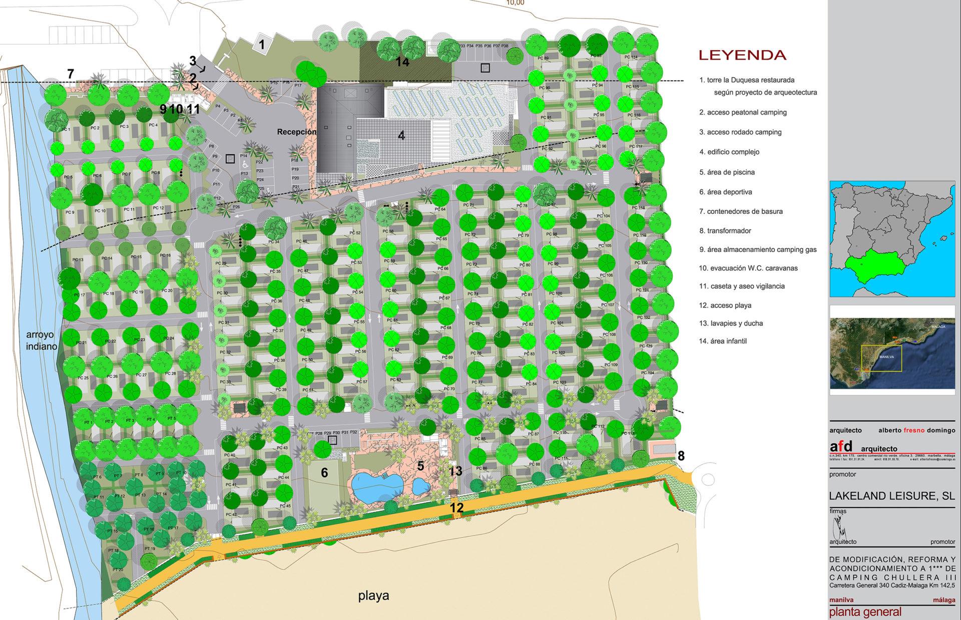Planta General de jardín en Camping Chullera, Manilva, Málaga