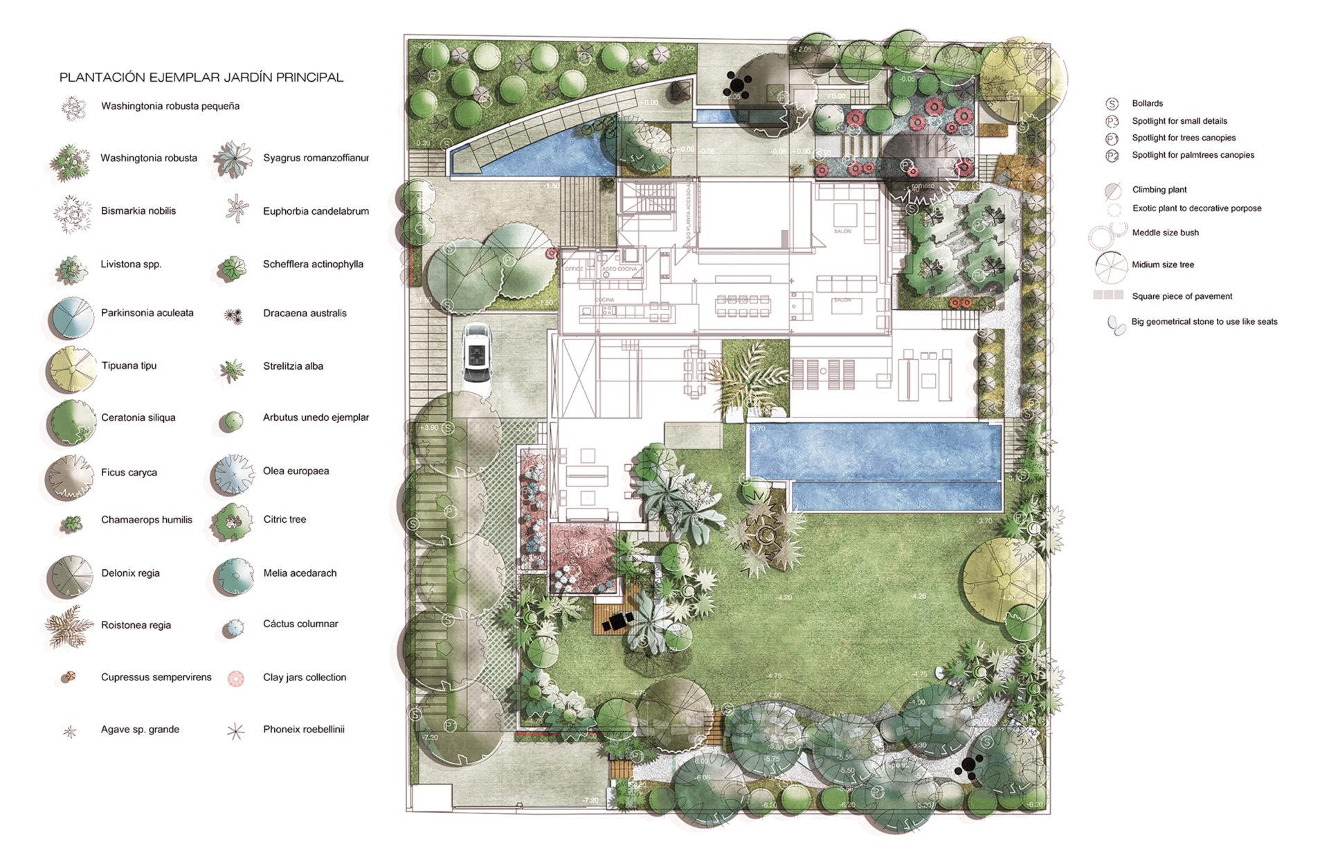 apddesign. Diseño jardín en Villa en Atlanterra