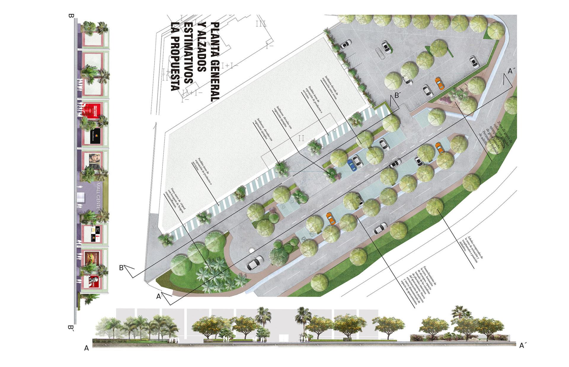 Propuesta reforma zona de jardín público en zona Centro Comercial Costalita, Marbella