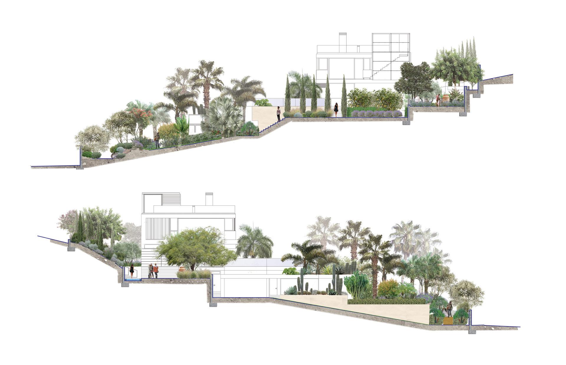 apddesign. Diseño jardín Villa en Atlanterra