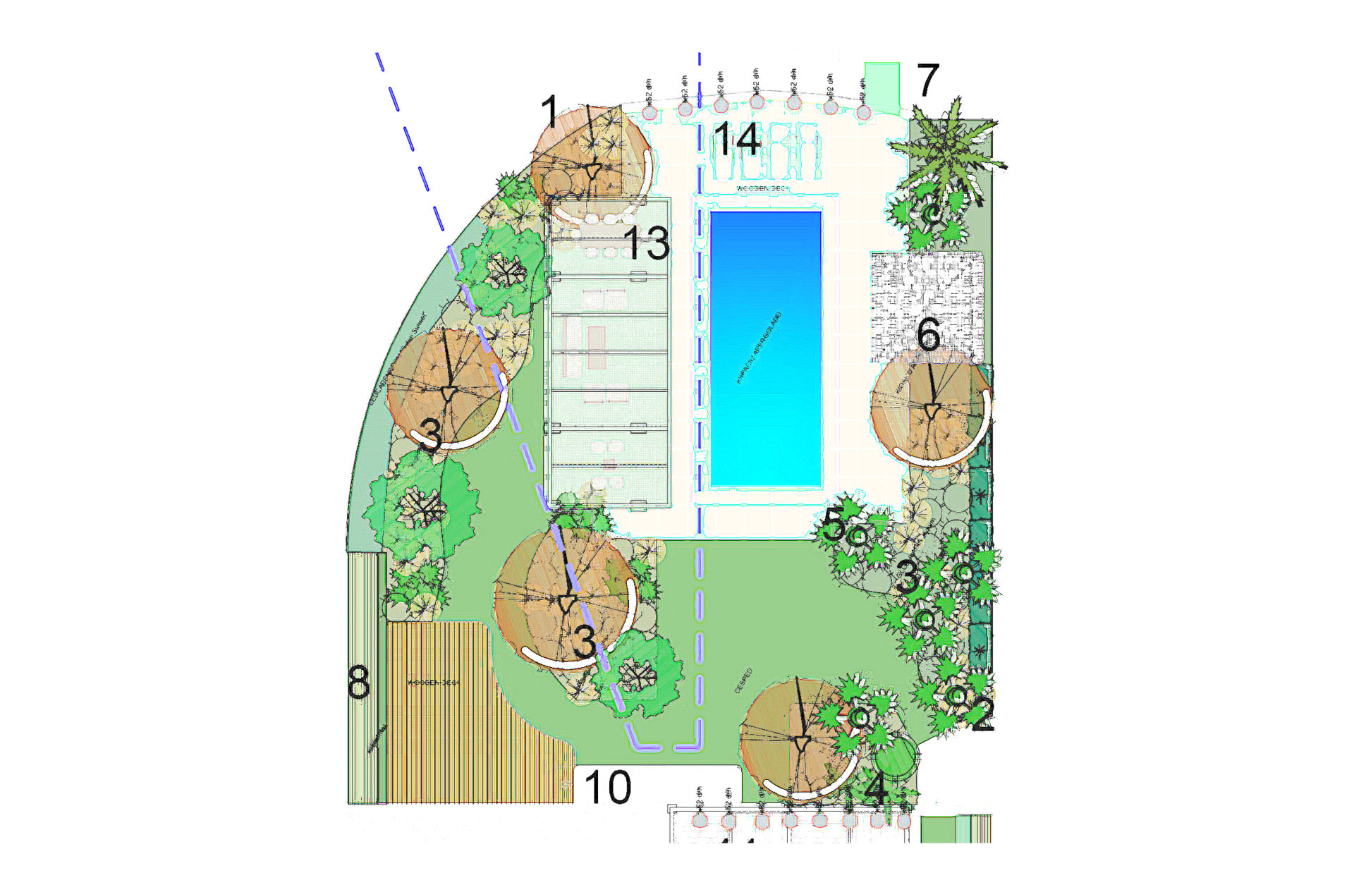 apddesign. Diseño jardín en Villa en Urbanización El Madroñal