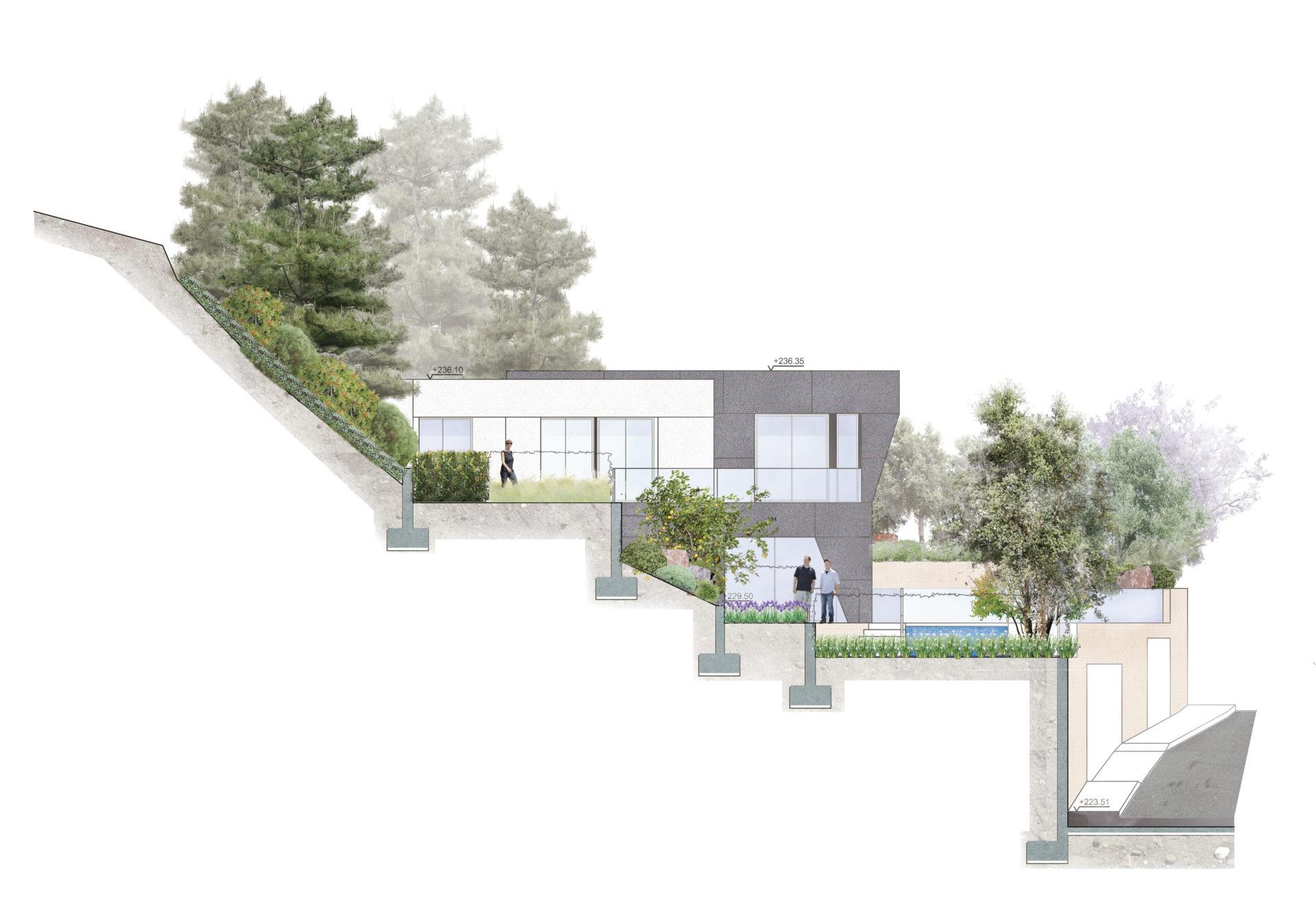 apddesign. Diseño jardín en casa unifamiliar en Málaga