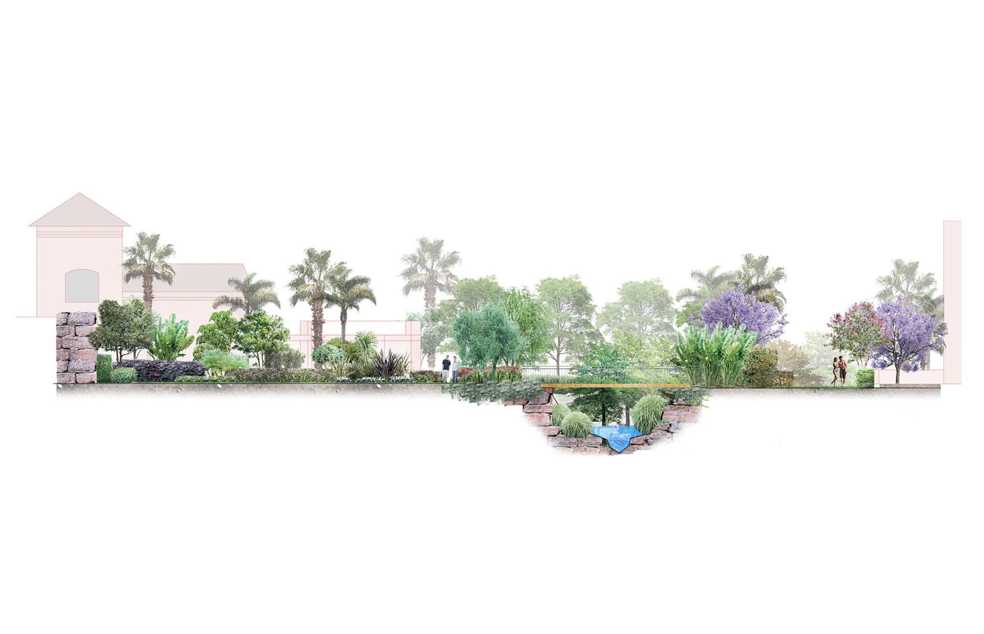 Sección de Propuesta de jardín para Casa de Ventas Paraíso, San Pedro